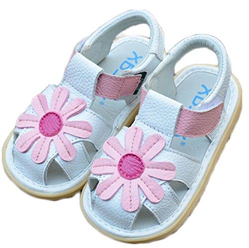 Price comparison product image Orlando Johanson New Girls' Toddler Little Kid Flower Closed Toe Summer Sandals Comfortable Sandals (10 M,  White) Comfortable
