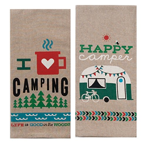 Kay Dee Designs Camping Adventures Chambray Towel Set – One Each Happy Camper & I Heart Camping