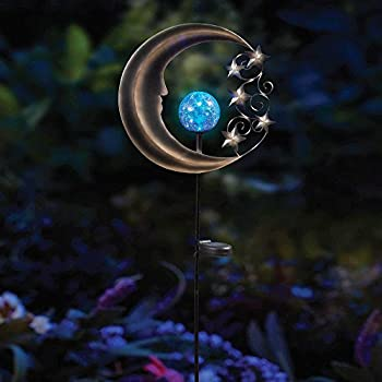 Innovative Solar Moon Garden Light Stake in Silver/Blue, Beautifully Lights Up Your Garden Up To 8 Hours