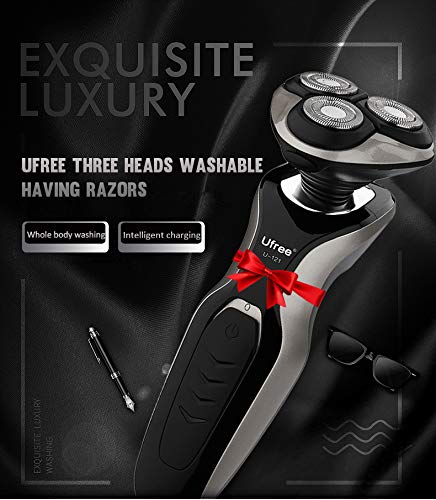 Waitata Mens Rotary Shaver Electric Shaver Razor USB Quick Rechargeable Shaving Razor Nose Trimmer Wet & Dry Rotary Shavers with Pop-up Trimmer for Men,Best Gift for Dad, Boyfrie(Red)