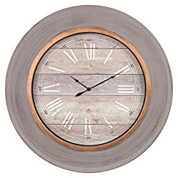 24 Round Distressed Blue Modern Slope Framed Wall Clock
