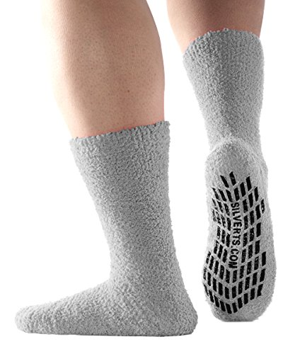 Non Skid/Anti Slip Grip Socks For Women/Mens Non Slip Grip Socks - Hospital - Grey X-Large from Silvert's Senior Care