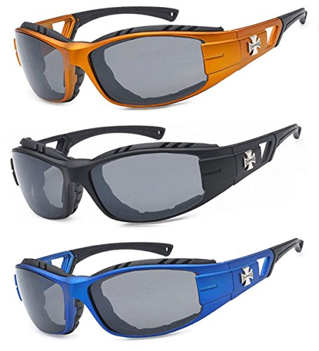 3 Pairs Choppers Padded Foam Wind Resistant Riding Sunglasses - Sunglasses Chopper