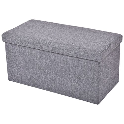 Giantex Folding Rect Ottoman Bench Storage Stool Box Footrest Furniture Home Decor (Gray)