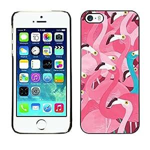 FECELL CITY // Duro Aluminio Pegatina PC Caso decorativo Funda Carcasa de Protección para Apple Iphone 5 / 5S // Pink Flamingo Teal Different Message