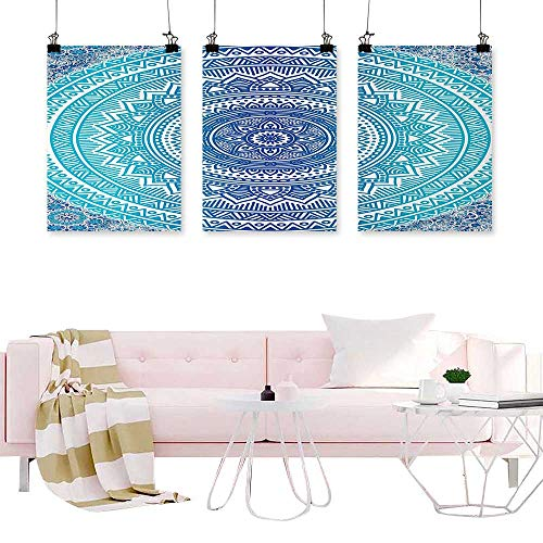 - Denruny Canvas Prints Modular Picture Ethnic,Spiritual Ritual Symbol of Universe Cultural Center Point Balance Meditation Theme,Light Blue Painting Triptych Wall Art Pictures
