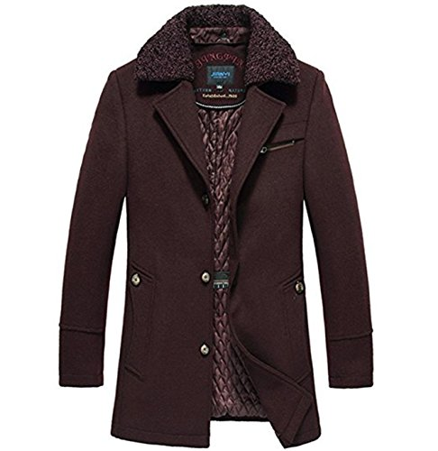 xianyuequ Men's Wool Jacket Overcoat Turn Collar Trench Coat Peacoat (XX-Large, Wine (Good Asian Costume Ideas)