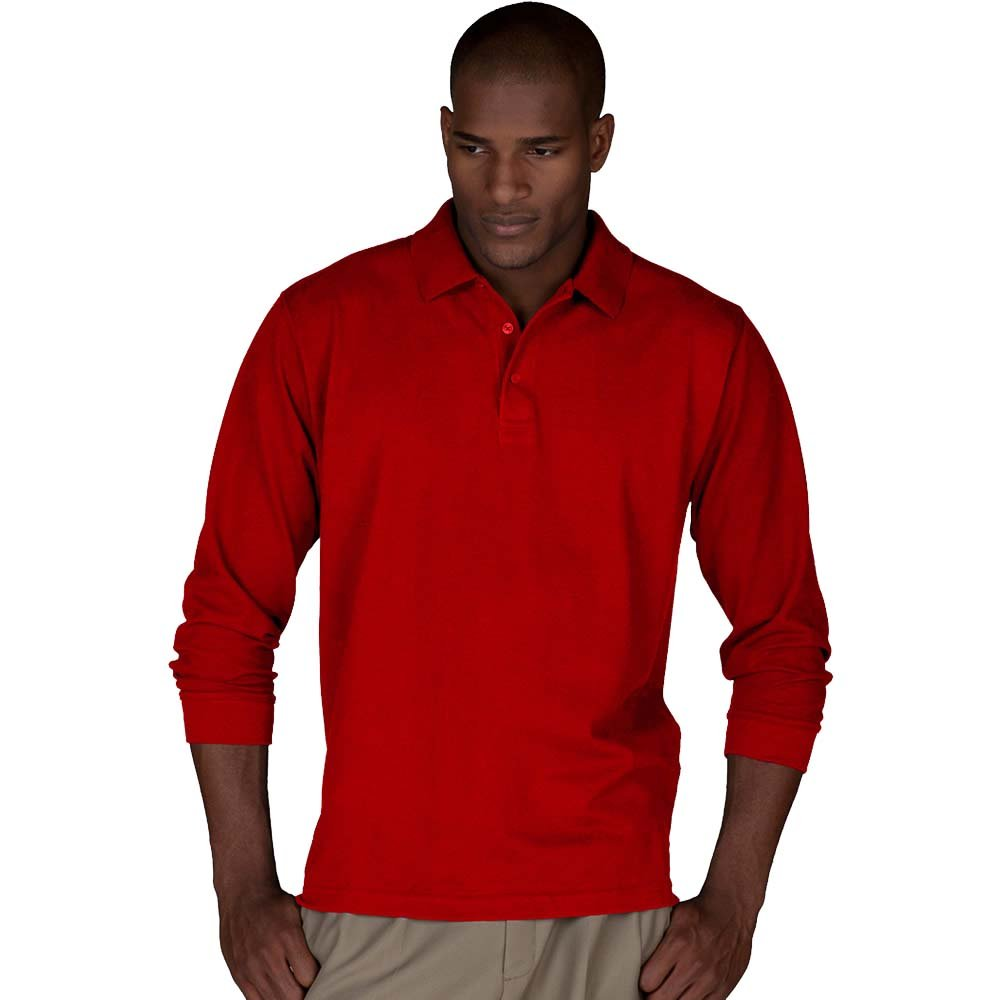 Mens Long Sleeve Pique Polo T Shirts Sizes XS to 4XL WORK CASUAL SPORTS LEISURE