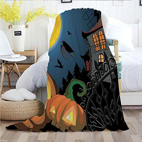 Ylljy00 Halloween Decorations,Throw Blankets,Flannel Plush Velvety Super Soft Cozy Warm with/Gothic Halloween Haunted House Party Theme Decor Trick or Treat for Kids/Printed Pattern(70