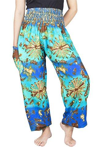 Lofbaz Women's Rayon Print Smocked Waist Boho Harem Pants Tie Dye Blue & Mint (Smocked Tie Dye)