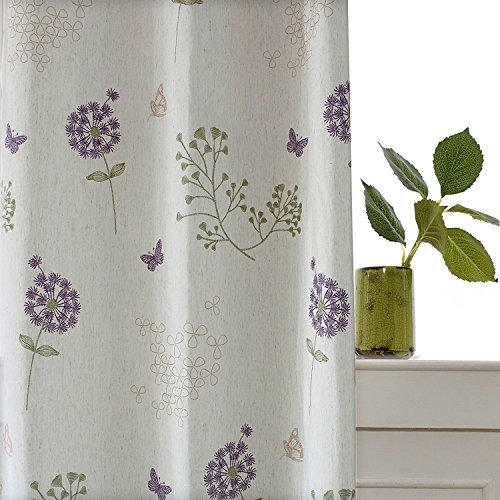 Purple Flower Off White Curtain – KoTing 1 Panel Dandelion Butterfly Blackout Lined Short Curtain Linen Bedroom Drape 42W by 84L Inch Review