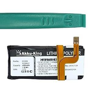 Akku-King Li-Polymer batería para Apple IPOD Video 5G - como EC008 / EC008-1 / EC008-2 / 616-0230 / 616-0029 / 616-0227 - Con Herramienta - 450mAh