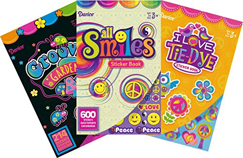 Peace, Love, and Tie-dye Assorted Sticker Books for Kids - 3 Books and over 1000 Stickers -
