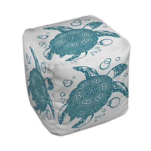 Thumbprintz Honu Turtle Teal Pouf Small 13 x 13 (Turtle Ottoman)