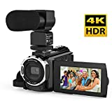 Video Camcorder, Andoer 4K Digital Video Camera 48MP 2880 x 2160 HD 3inch Touchscreen Handy Wifi Camera with IR Night Vision Support 16X Zoom 128GB Max Storage (Camera+Microphone)