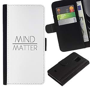 Samsung Galaxy S5 Mini / SM-G800 (Not For S5!!!) Modelo colorido cuero carpeta tirón caso cubierta piel Holster Funda protección - Over Matter Quote Text White Motivational