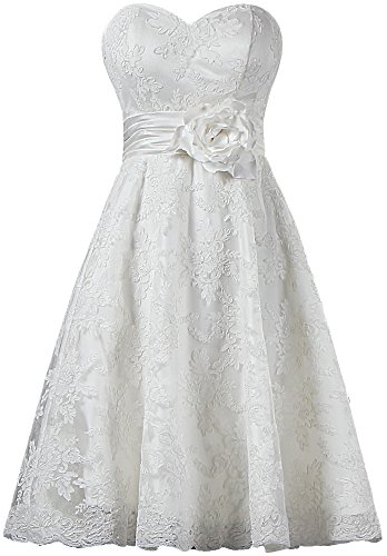 Women's Short Beach Lace Bridal Wedding Dress Prom Dresses Size 26W US Ivory