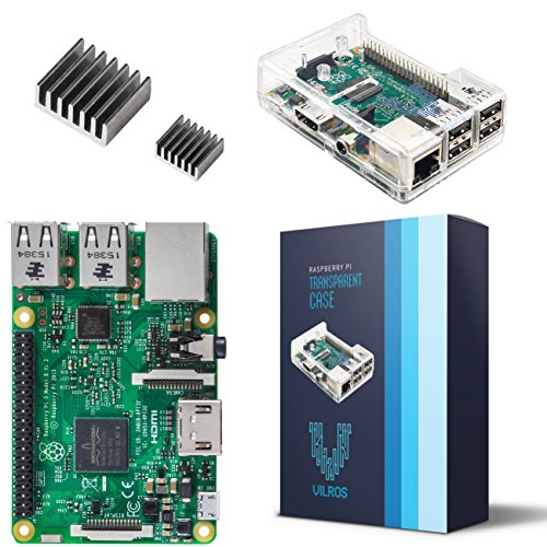 (Vilros Raspberry Pi 3 Model B with Clear Transparent Case and Set of 2 Heatsinks)