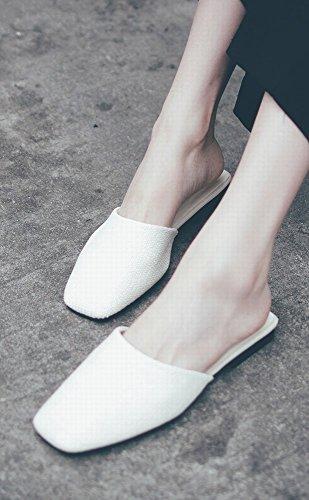 Zapatos Planos Ropa Sandalias Salvaje DIDIDD Blanco de Casual Moda Perezosos Zapatos 37 Baotou fUS1qxt