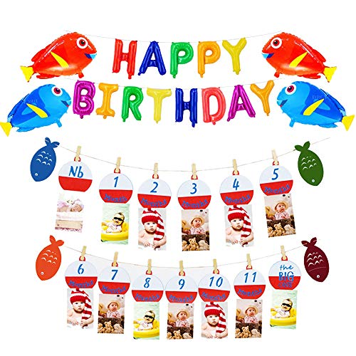 The Big One Bobber Gone Fishing Baby Monthly Photo Banner Little Fisherman Happy Birthday Letters Fish Balloon First Year Milestone Boys Photo Props Party Decoration Supplies -