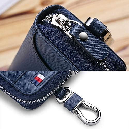 LLOOMMB Schlüsselbund Brand Wallet Men Original Key Wallets Men Autoschlüsselhalter Organizer Wallet Casual Keychain Zipper Key Blue