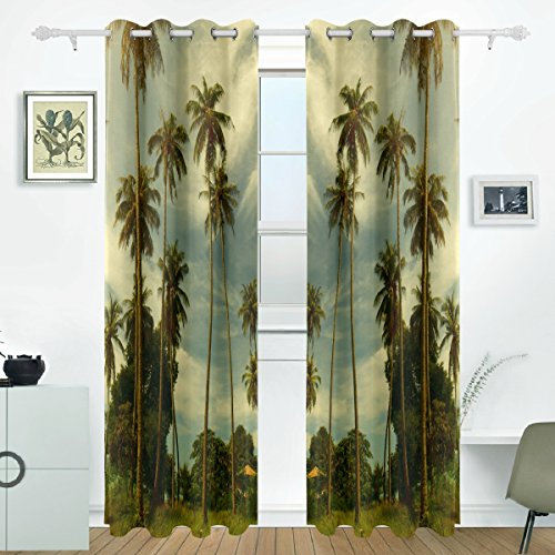JSTEL Palm Trees Curtains Drapes Panels Darkening Blackout Grommet Room Divider for Patio Window Sliding Glass Door 55x84 Inches,Set of 2
