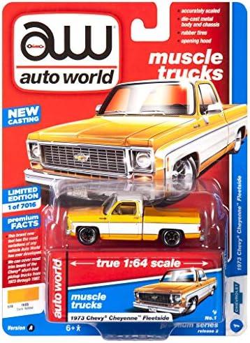 [해외]Auto World 64222 1:64 Muscle Trucks 1973 Chevy Cheyenne Fleet Yellow Series A / Auto World 64222 1:64 Muscle Trucks 1973 Chevy Cheyenne Fleet Yellow Series A