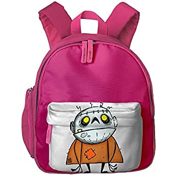 Halloween Zombie Monster School Backpacks For Children Girls Boys Oxford Printed With Front Pocket Pink
