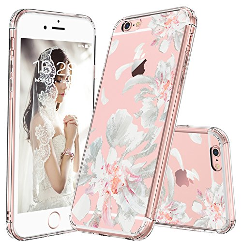 MOSNOVO iPhone 6S Case/iPhone 6 Case, White Floral Flower Petal Pattern Printed Clear Design Transparent Plastic Hard Back with TPU Bumper Gel Protective Cover for Apple iPhone 6/iPhone 6S