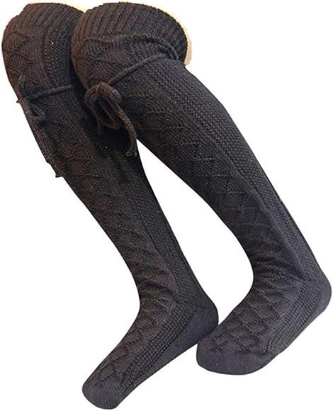NEW  UK SELLER LADIES BLACK LACE KNEE HIGH SOCKS WARM SMART