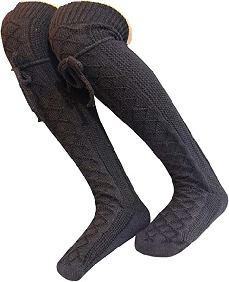 New Women Girls Cable Knit Extra Long Boot Socks Over Knee Thigh High Warm Stock