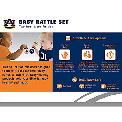 MasterPieces NCAA Auburn Tigers, Natural Wood, Non-Toxic, BPA, Phthalates, & Formaldehyde Free, Baby Rattle, 2 Pack: Sports & Outdoors