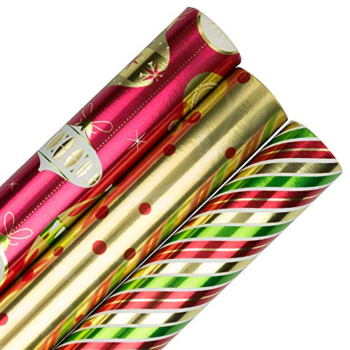 - JAM PAPER Assorted Gift Wrap - Christmas Foil Wrapping Paper - 75 Sq Ft Total - Christmastime Set - 3 Rolls/Pack