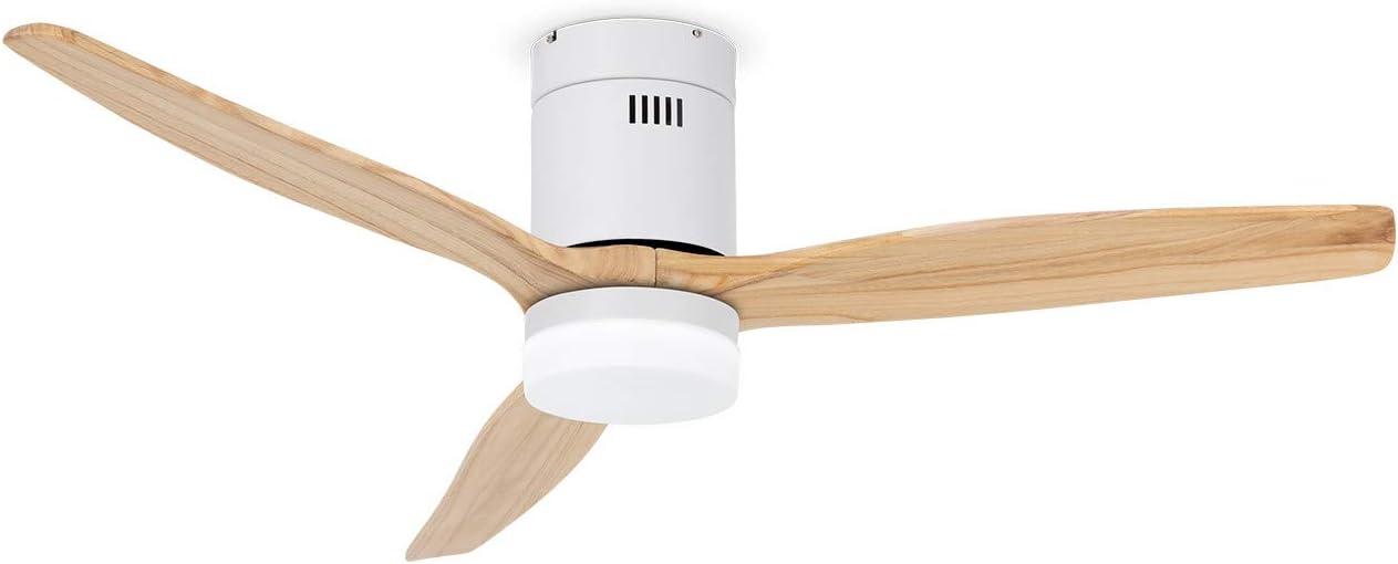 IKOHS LIGHTCALM White - Ventilador de Techo con Luz, Silencioso, 3 Aspas, Mando a Distancia, 132 cm de Diámetro, 6 Velocidades,Temporizador, Aspas de Madera, Motor DC, 40W (Madera Natural)