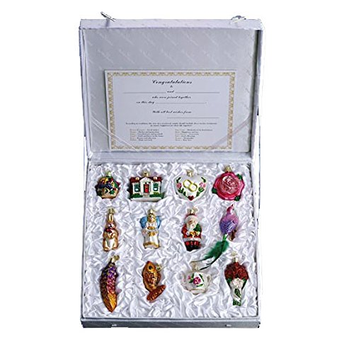 Old World Christmas Bride's Collection Ornament Box Set (Christmas Rose Ornaments)