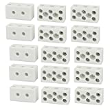 DealMux 250V 10A 3 Position 8 Hole Ceramic Terminal Blocks Wire Connectors 15pcs
