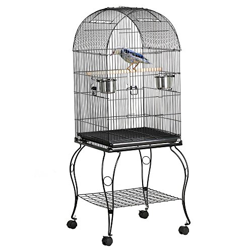 Yaheetech 59'' Rolling Large Metal Bird Cage Open Playtop with Stand Perch for Parrot Cockatiel Canary Finch Aviary Pet House Supplies by Yaheetech