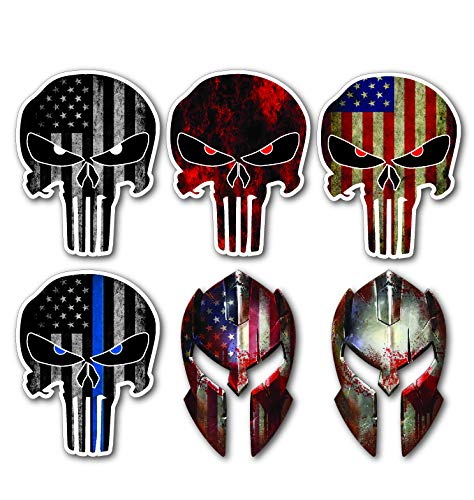 6 pack Punisher Skull Molon Labe USA Flag Spartan Helmet Decal Laptop Car 3d Sticker USA Army Sniper Military Truck Van Window