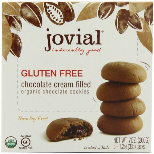 Jovial Cream Filled Organic Cookies, Gluten Free, Chocolate, 7-Ounce (Pack of 5)