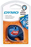 Dymo S0721630 LetraTag Plastic Tape, Self-Adhesive, 12 mm x 4 m Roll - Black Print on Red