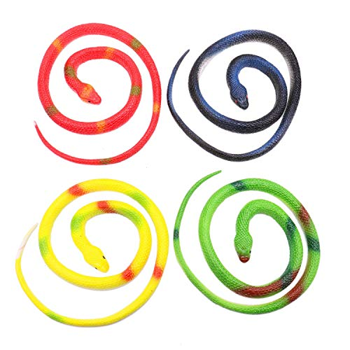 JETEHO 4Pcs Rubber Rainforest Snake,Rubber Snake, Snake Toys, Rubber Prop Toy Snakes for Children, Gag Toys, Prank, Prop, Gardens, Party Favors and More]()