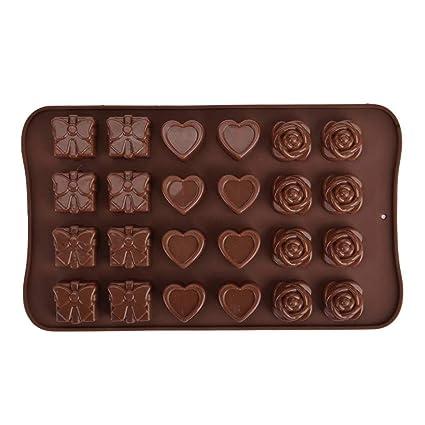 MUANI 24 la Red Rose Torta del corazón del Molde del silicón del Arte del Chocolate