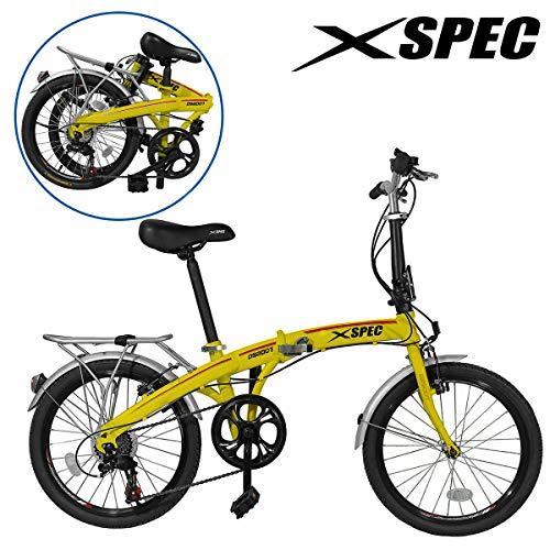 Xspec 20' 7 Speed Folding Mini Compact Bike Bicycle Urban Commuter Shimano Yellow New