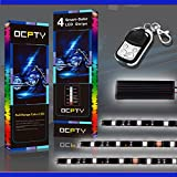 OCPTY 6Pack Multi-Color LED Light Kit Strips Flexible with Remote Controller 6-5050-RGB LED Motorcycle Decoration Light Replacement fit for KTM BMW Suzuki Ducati Harley Davidson Honda Kawasaki