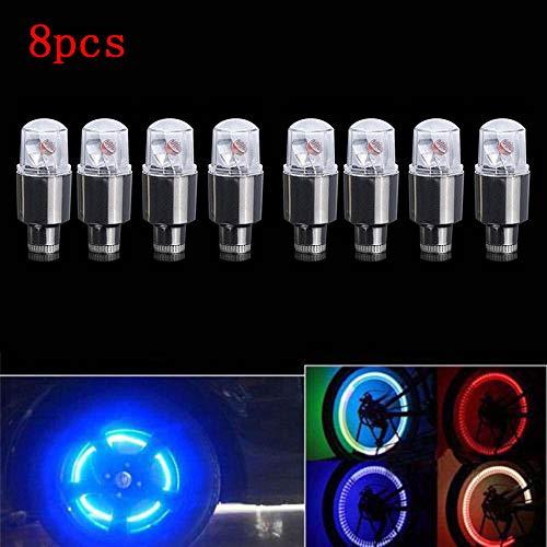 Chartsea 8X Bike Car Motorcycle Wheel Tire Tyre Valve Cap Neon LED Flash Light Lamp hot (A) -