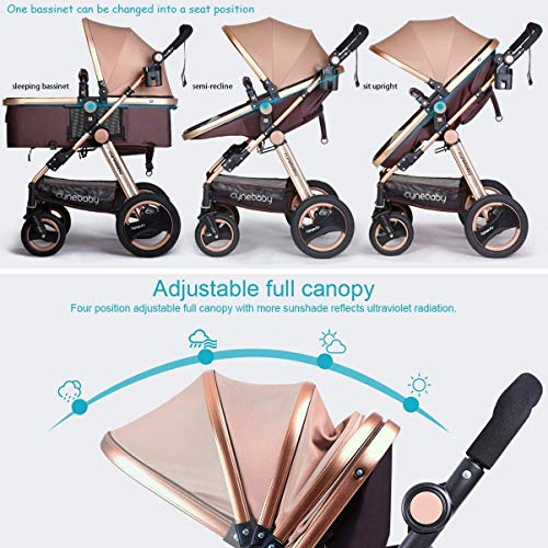 514XQsv9tWL - Infant Baby Stroller For Newborn And Toddler - Cynebaby Convertible Bassinet Stroller Compact Single Baby Carriage Toddler Seat Stroller Luxury Pram Stroller Add Cup Holder Footmuff And Stroller Tray