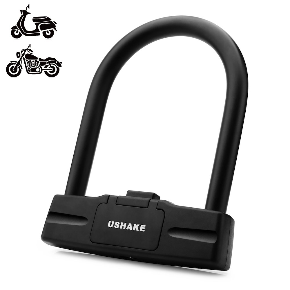 UShake Bicycles U Lock, Heavy Duty Bike Scooter Motorcycles Combination Lock Combo Gate Lock for Anti Theft (Black 10mm chackle) (Black 14mm chackle) by UShake