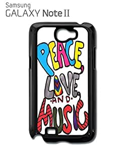 Peace Love and Music Mobile Cell Phone Case Samsung Note 2 Black