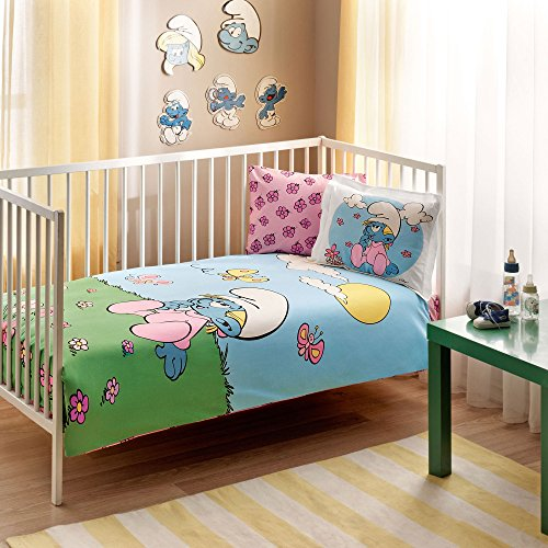 100% Organic Cotton Soft and Healthy Baby Crib Bed Duvet Cover Set 4 Pieces, Smurfs Baby Bedding Set by TAC