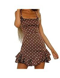 Sling Dress Women Back Bow Dot Printing Sleeveless Mini Dress Summer Beach Dress